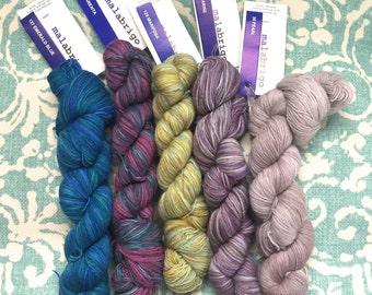 Sale! Malbrigo Lace 8.99 +.75ea to Ship 100% Baby Merino 537 Blue, 237 Teal Pink Multi, 125 Lime, 629 Purple, 036 Pearl - 470 yds of Luxury!