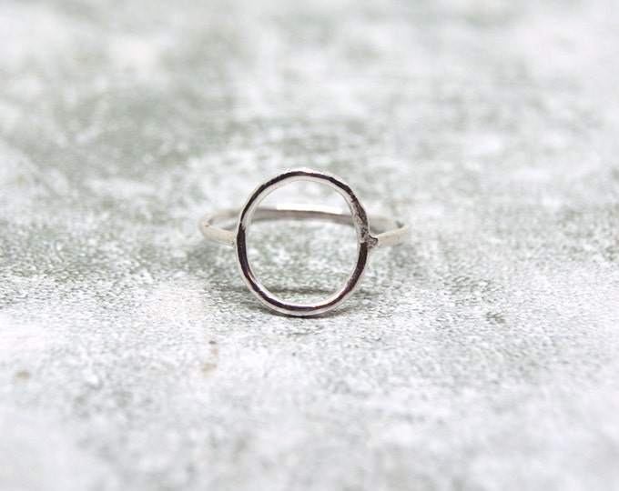 Featured listing image: Handmade Sterling Silver Open Circle Ring, Silver Negative Space Ring, Sterling Silver Skinny Ring, Minimalist Circle Ring, Dainty Ring