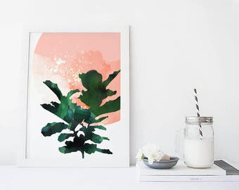 Fig leaf plant wall art, botanical art print, watercolor poster, nature, leaf art, retro, minimal simple illustration, home decor, coral