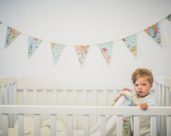 Map fabric bunting etsy baby bunting banner world map bunting world map decor wedding garland fabric gumiabroncs Images