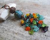 Long Moogin Lampwork Bead Necklace ~Boho Statement Necklace, Blue Necklace, Beaded Necklace, Flower Necklace, Copper Necklace, Leaf Necklace