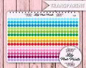 Transparent 336/144/108 Small T-24 /Medium T-25 /Large T-26 Dots Stickers  - Perfect for Erin Condren Life Planners / Journals / Stickers.