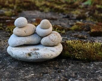 Garden Sculpture - Fossilized Coral and Beach Stones - Zen Balance - Housewarming Gift - Coastal Bathroom Decor