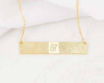 30% OFF - FingerPrint Bar Necklace - Custom FingerPrint Jewelry - Memorial FingerPrint - Wedding Gift - Couple Gift - Christmas Gift