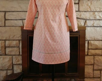 1960s Pink and Silver Sheath Dress Size XL