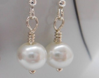 RESERVED LISTING For Genevieve, 3 Pairs White Pearl Bead Drop Earrings, White Earrings, Bridal Earrings, Dangle Earrings, Pearl Earrings