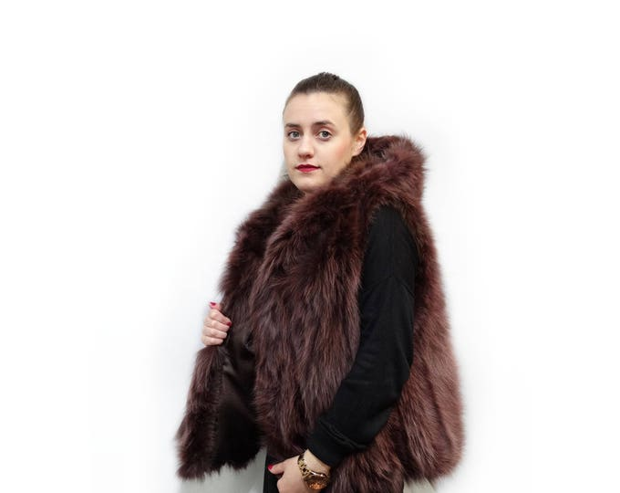 Plus size fox hooded fur vest,Unique copper fur vest F539