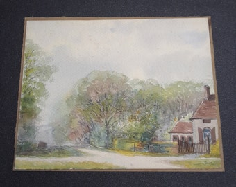 vintage french watercolor, french art, french painting