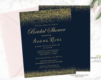 Navy Gold Bridal Shower Invitation, Confetti Bridal Invitations, Custom Bridal Invite, Shower Invitation, Printable Shower Invitation, BR040