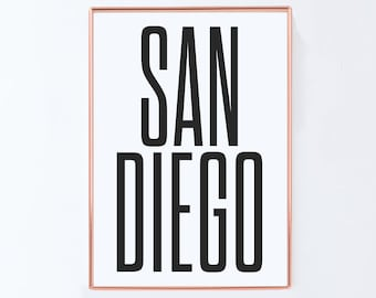 San Diego Poster, Graphic art,USA, Black and White Art Typography Poster, Art Home Decor, Brookyln Poster,NYC Print, NYC Art,