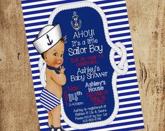 Ahoy Little Sailor Baby Shower Invitation African American baby boy baby shower invitations anchor nautical blue stripe ethnic baby