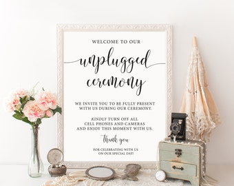 Unplugged Wedding Sign, Unplugged Ceremony Sign, Unplugged Ceremony Printable, No Cell Phone Sign, Unplugged Sign, Wedding Signage