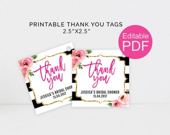 Kate Thank You Tags Printable, DIY Editable Template, Custom Spade Shower Favor Tags, Black and White Stripes Floral Tag, Bachelorette Party