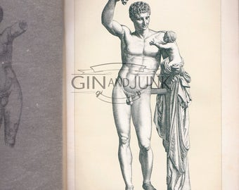 Unique Historical Print of Hermes of Praxiteles Greek Statue with Infant - dating from 1890