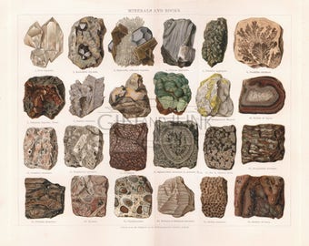 Beautifully detailed geology print featuring various minerals and rocks, including crystals and volcanic rock dating from 1904.
