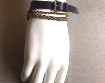 Chains black leather strap bronze TANK