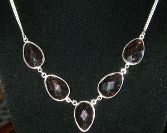 """Purple Amethyst Reiki Infused Crystal Gemstone Metaphysical Chakra Healing 22"""" .925 Sterling Silver Chain Necklace"""