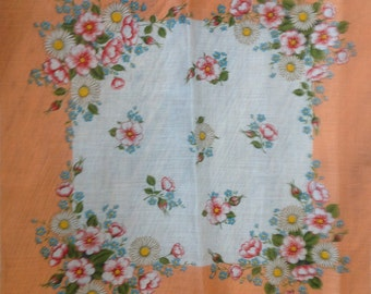 Kreier 100% Cotton Handkerchief - Geometric Floral Design in Pale Orange and White with Daisies  - New and Unused From Vintage 1970 Stock