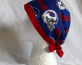 Buffalo Red White and Blue Football Surgical Scrub Cap Chemo Dentist Hat