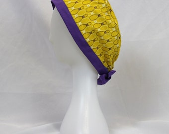 Yellow and Purple Bowling Pins Surgical Scrub Cap Dentist Chemo Hat