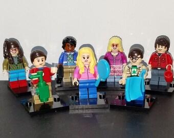 Big Bang Theory Set Of 7 Minifigures Sheldon Leonard Penny Howard Raj Amy Bernadette Building Toys (LEGO Compatible)