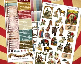 Vintage Circus  Planner Stickers