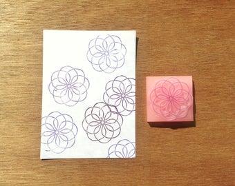 Flower mandala stamp, mandala rubber stamp, mandala eraser stamp, texture stamp, handmade pattern rubber stamp, hand carved stamp