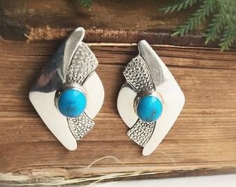 Vintage Sterling Silver & Turquoise Shield Stud Southwestern Boho Earrings