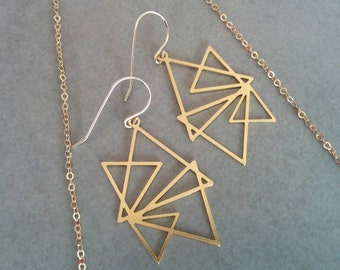 Triangle earrings, Geometric Earrings, Gold Earrings, Gold Triangle, Geometric Jewelry, Wedding Jewellery, Gift For Her, Gold Geometric