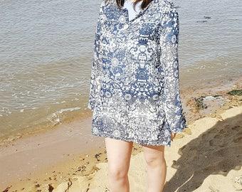Beach Kaftan - Kaftan Top - Floral Kaftan - Blue Kaftan - Boho Kaftan - Summer Kaftan Dress - Boho Kaftan Dress - Beach Caftan - Embroidery