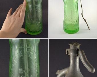 Antique Seltzer Bottle, Rare Soda Seltzer Bottle, Romanian Vintage Soda Siphon Bottle, Green Glass Bottle, Small Half Liter Selzer Bottle