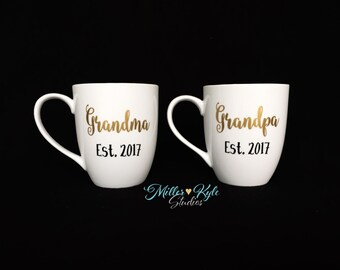 Personalized Grandma and Grandpa Coffee Mugs (2 mugs) - Grandparents Gift - Pregnancy Reveal - New Grandparents Gift - New Parents Gift