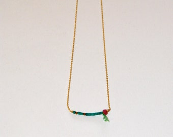 Fine necklace, Vermeil beads, natural Ruby et micro Turquoise