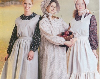 Free Us Ship Sewing Pattern McCall's 9423 Misses Costume Thanksgiving Pilgrim Prairie Colonial Dress Hat Apron Collar Uncut Size 12/14
