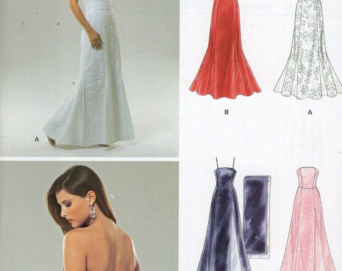 FREE US SHIP New Look 0534 6454 Dress Evening Length Bridal Wedding Gown Dress  Size 8 10 12 14 16 18 Bust 30 32 34 36 38 40 Sewing Pattern