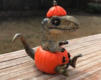 Handmade Halloween Tyrannosaurus Rex Pumpkin Collectible Sculpture