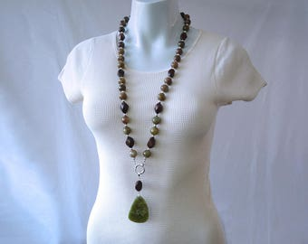 Grossular - Green garnet and Robles wood 1 or 2 strand necklace with pendant - 925 sterling silver - GemChristina GR5506
