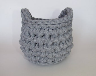 Knitted Gray Bowl #5 Basket