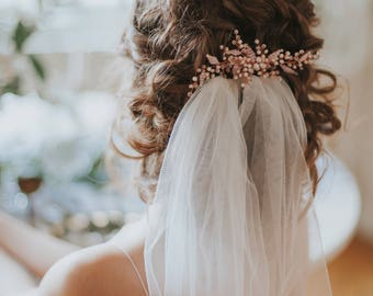 Rose gold hair comb - Pale pink