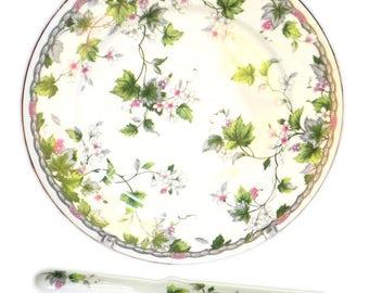 Monica Andrea by Sadek Cake Plate with Server Floral Vine MIB