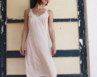 Vintage beige lingerie midi underdress,underwear.size 42,44
