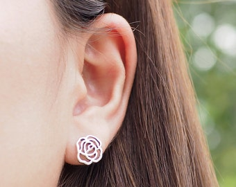 Rose Stud Earrings, Flower Earrings, 925 Sterling Silver, Floral Jewelry, delicate stud, Gift for her - SB114