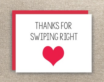 Thanks for Swiping Right - Tinder Card - Valentine's Card - Love Card - Online Dating Card - Boyfriend Card - Girlfriend Card - Bumble Card