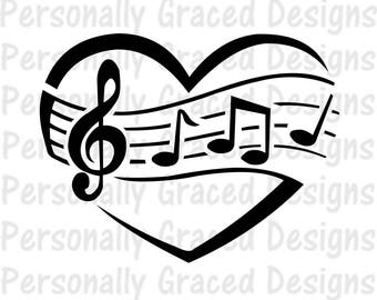 SVG, DXF, EPS Cut file Music Heart svg, Music Notes Svg, Treble Clef, silhouette cut file, cameo file, Instant Download, Cricut Design File