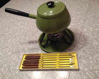 Fondue Set Avocado Fondue Pot Vintage