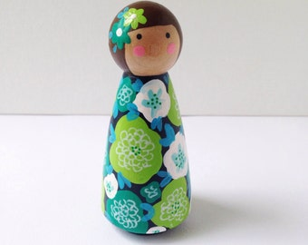 Floral Wooden Peg Doll