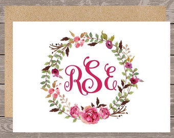 Personalized stationery set/Floral wreath Notecard/Monogram Note Card/Personalized stationery, custom notecard
