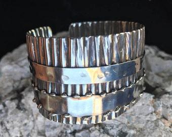 Silver Cuff Bracelet | Modern Boho Cuff | Sterling Silver Corrugated Ruffle Cuff Bracelet with Bands #carefreejewelry