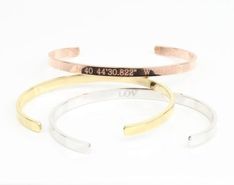 Gold, Rose Gold, Silver Custom Bangle Bracelets, Personalized Name Coordinate Bracelets, Nameplate Bracelet, Bridesmaids Wedding Gift