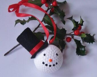 Snow Man Golf Ball Ornament